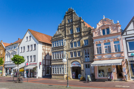 Central market square with old buildings in Stadthagen, Germany Editorial