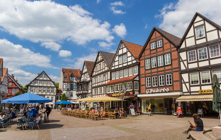 Central market square in historical city Rinteln, Germany