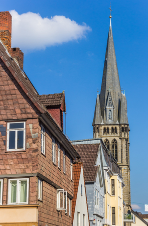 Houses and church tower in the center of Detmold, Germany