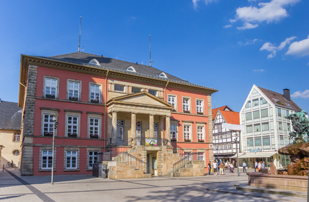 Old town hall building at the market square of Detmold, Germany Editorial