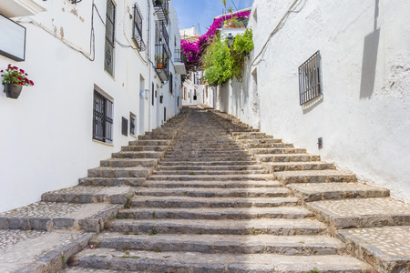Long Staircase In A Whitewashed Street In Altea, Spain Stock Photo    81199500