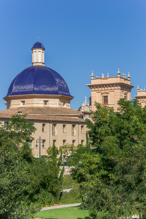 Blue tiled dome of the Fine Arts Museum in Valencia, Spain