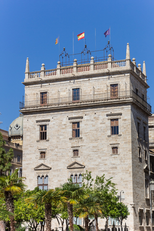 Flags at the Generalidad palace in Valencia, Spain Stock Photo