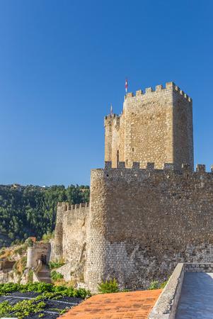 mancha: Castle on the hilltop of Alcala del Jucar, Spain Stock Photo