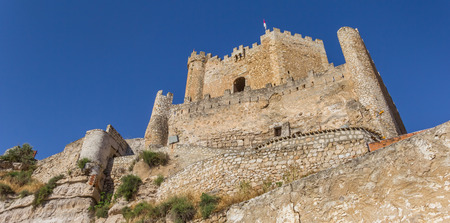 mancha: Panorama of the hilltop castle in Alcala del Jucar, Spain