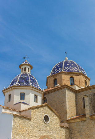 Blue domes of the church in Altea, Spain Stock Photo