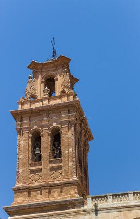 mancha: Bellfry of the historic church of Almansa, Spain