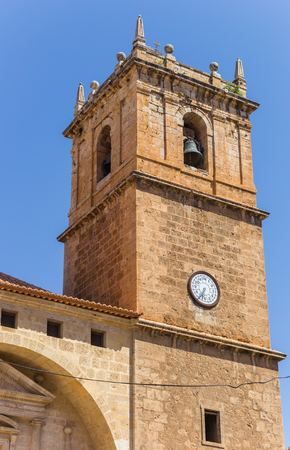 Bellfry of the historic church of Ayora, Spain Stock Photo