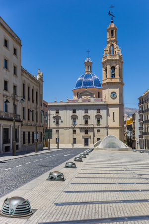 Santa Maria church at he central square of Alcoy, Spain
