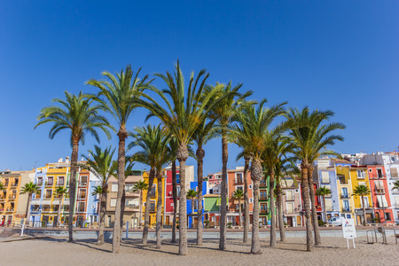 Palm trees and colorful houses at the beach of Villajoyosa, Spain