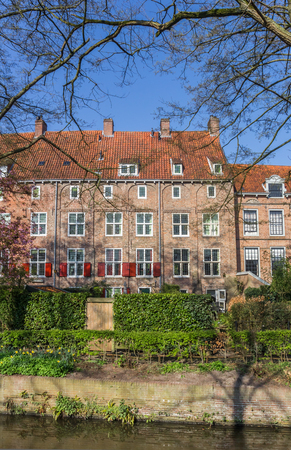 Houses with red shutters in the historic center of Amersfoort, Netherlands Editorial