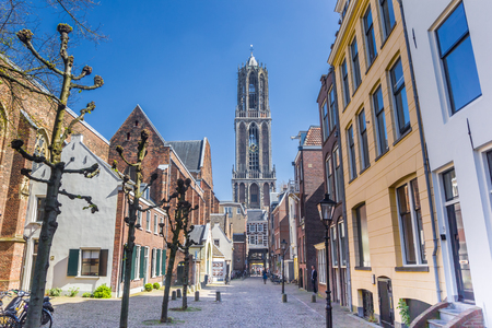 Church tower and colorful houses in Utrecht, Netherlands