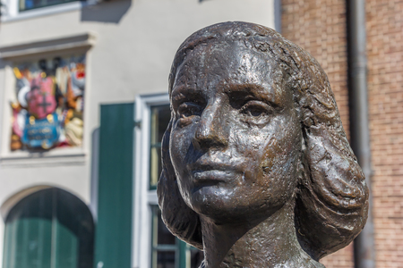 Head of the statue of Anne Frank in Utrecht, Netherlands