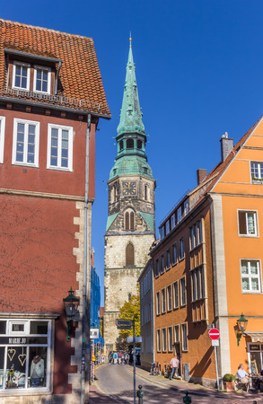 Street leading to the Kreuzkirche church in Hannover, Germany
