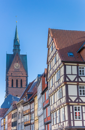 Half-timbered houses and church tower in Hannover, Germany