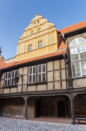 Courtyard of the Servatius church of Quedlinburg, Germany Stock Photo