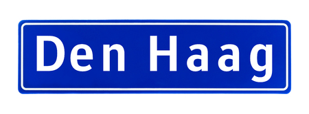 City limit sign of The Hague, The Netherlands isolated on a white background