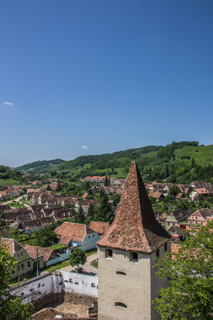 View over the tower of the fortified church in Biertan, Romania Stock Photo