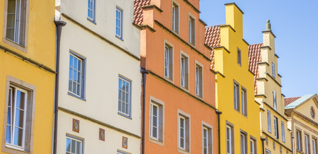 Panorama of colorful houses at the market square in Osnabruck, Germany