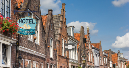 Panorama of historic gables in Edam, The Netherlands