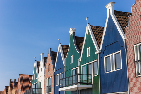 Colorful wooden facades in the center of Volendam, Netherlands Stock Photo
