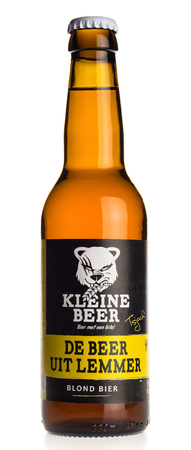 Bottle of Kleine Beer Blond beer isolated on a white background Editorial