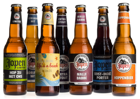 Collection of Dutch craft beers by Jopen brewery in Haarlem, The Netherlands