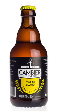 Bottle of Cambier Zwaar Blond beer isolated on a white background Editorial
