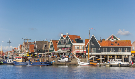 Boats at the quay of Volendam in the Netherlands