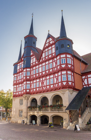 Historic town hall at the maket square in Duderstadt, Germany