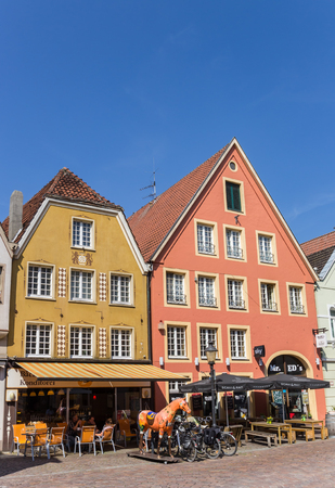 Colorful cafe in the historic center of Warendorf, Germany