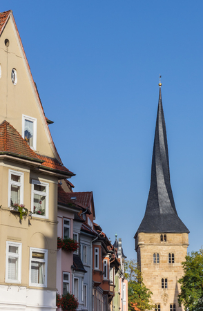 Houses and the west tower of Duderstadt, Germany Standard-Bild - 97001243