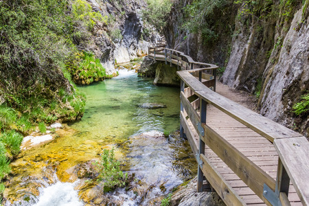 Boardwalk through Cerrada de Elias gorge in Cazorla National Park, Spain Stock Photo