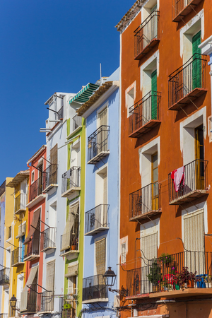 Colorful houses at the boulevard of Villajoyosa, Spain