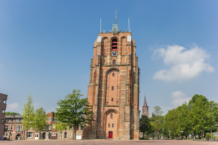 Leaning tower Oldehove in the center of Leeuwarden, Netherlands Stock Photo