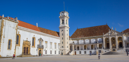 Panorama of the university square and bell tower in Coimbra, Portugal