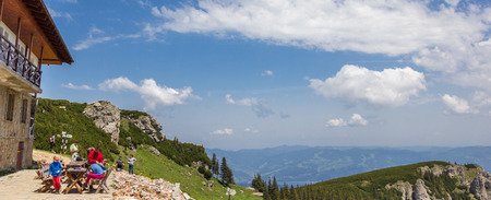Panoramic view from the top of the Carpathian mountains in Romania Editorial