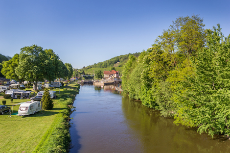 Fulda river and campground in Hann. Munden, Germany