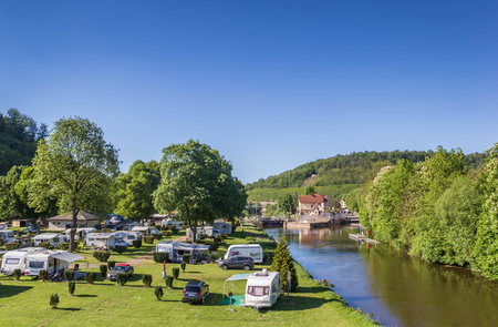 Campground at the Fulda riverside in Hannoversch Munden, Germany