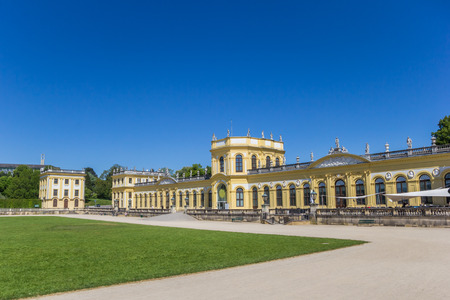 Yellow castle in the Karlsaue park of Kassel, Germany Editorial
