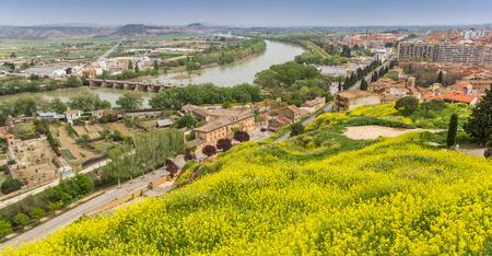 View over the Ebro river in Tudela, Spain Standard-Bild