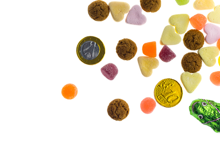 Assorted candy for traditional dutch holiday Sinterklaas isolated on a white background Stockfoto
