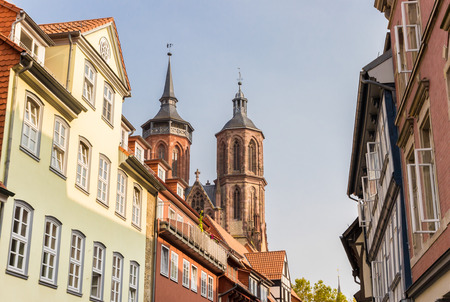 Historic houses and church towers in Gottingen, Germany