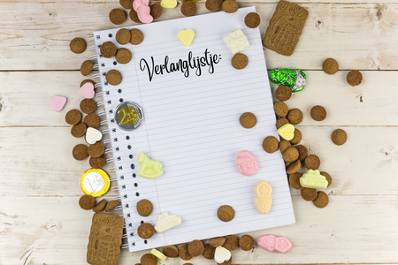 Candy and notepad with the dutch word for wish list for traditional dutch Sinterklaas celebration