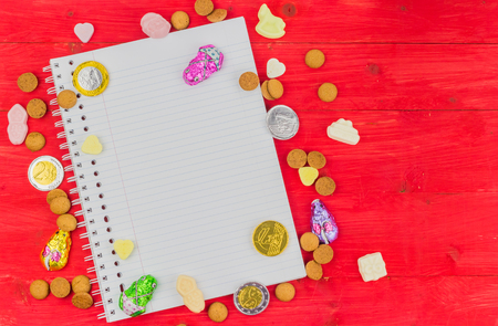 Candy and notepad for traditional dutch Sinterklaas holiday celebration
