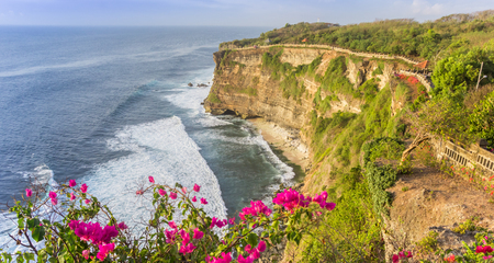 Panoramic view over the cliffs from the Ulu Watu Temple on Bali, Indonesia