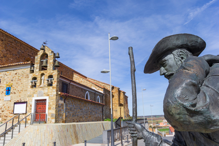 Statue of a pilgrim on the Camino de Santiago in Astorga, Spain