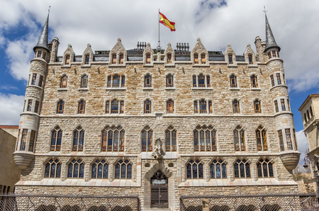 Front view of the Casa de los Botines building in Leon, Spain, designed by Gaudi