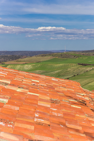Orange rooftiles and landscape near Atienza, Spain