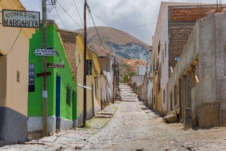 Cobblestoned street in the center of indigenous village Iruya, Argentina